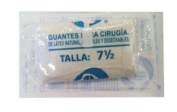 Imagen de Guantes de Látex Desechable para Cirugía Talla 7.5 (par)