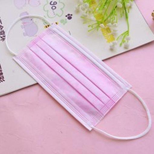 Cubrebocas Plisado Color Rosa Paquete Con 10
