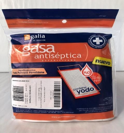 Gasa Antiseptica esterilizada 10cmX10cm Tipo IV 8 capas 24X20 Bolsa 10 pzas