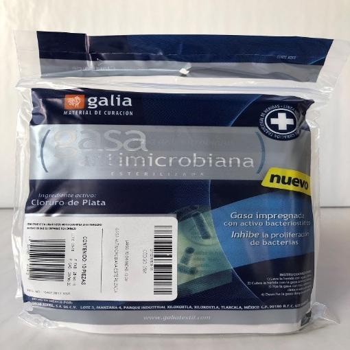 Gasa Antimicrobiana esterilizada 10cmX10cm Tipo IV 8 capas 24X20 Bolsa 10 pzas
