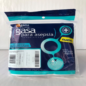 Imagen de Gasa para Asepsia esterilizada 10cmX10cm Tipo IV 8 capas 24X20 Bolsa 10 pzas