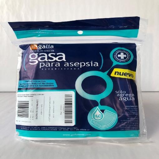 Gasa para Asepsia esterilizada 10cmX10cm Tipo IV 8 capas 24X20 Bolsa 10 pzas