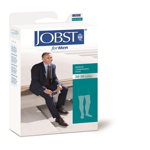 Calcetin Jobst For Men Alta compresion 20-30, Muslo Chico Beige
