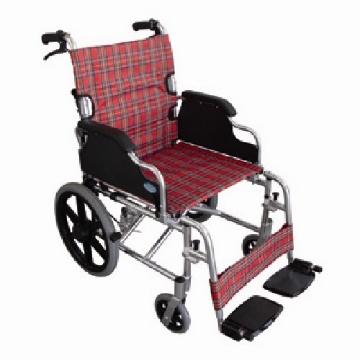 Imagen de Silla de Traslado Rider Descansa Brazo Abatible, Descansa pies Desmontables, Tela tipo Escocesa