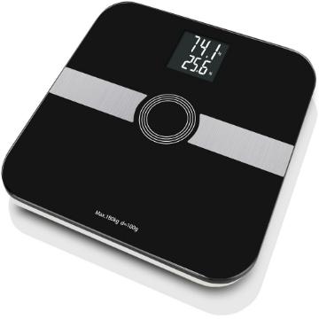 Imagen de »Bascula de Grasa Corporal de 8 Parametros, con Escala de 180kg/ 100GR con LCD inverso, 8 Usuarios, con Bluetooth, Negra.