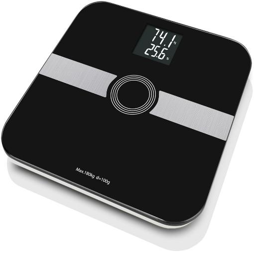 »Bascula de Grasa Corporal de 8 Parametros, con Escala de 180kg/ 100GR con LCD inverso, 8 Usuarios, con Bluetooth, Negra.