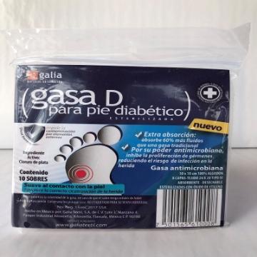 Imagen de Gasa D para diabetico esterilizada 10cmX10cm Tipo IV 8 capas 24X20 Bolsa 10 pzas