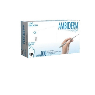 Imagen de Guante no Esteril Vinyl libre de polvo Ambiderm Mediano con 100 piezas