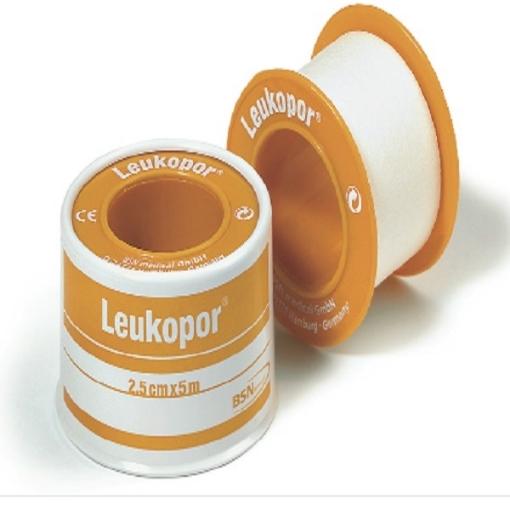 Cinta Microporosa BSN Leukopor color Blanco 2.50 CM x 5 M  Caja con 12 piezas