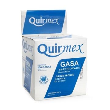 Imagen de Gasa Esteril Quirmex 10x10 cm paquete con 100 pzas.