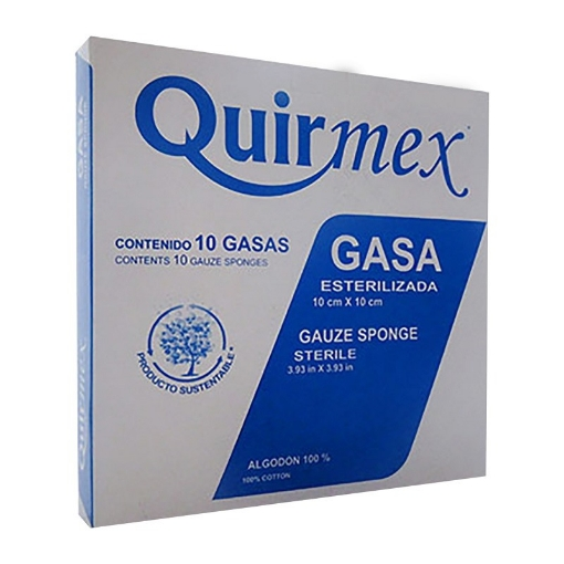 Gasa Esteril Quirmex 10cmx10cm paquete con 10 pzas.