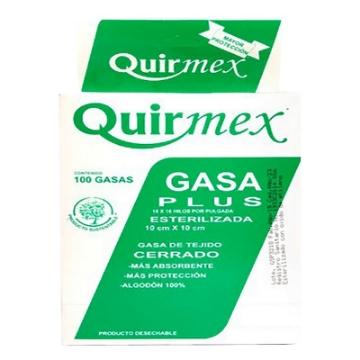 Imagen de Gasa Esteril Plus Quirmex 10cm x 10cm paquete con 100 pzas.