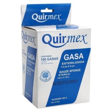 Imagen de Gasa Esteril Quirmex 7.5cm x 5cm paquete con 100 pzas.