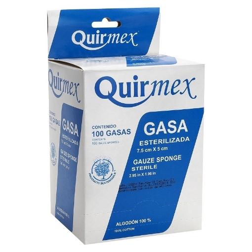 Gasa Esteril Quirmex 7.5cm x 5cm paquete con 100 pzas.