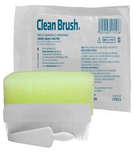 Cepillo Quirurgico Clean Brush Desechable Jabon Liquido Neutro