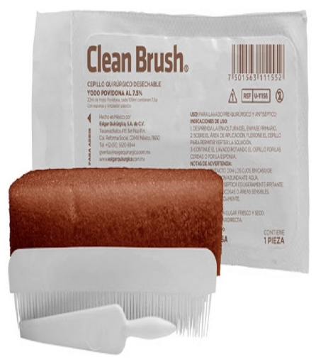 Cepillo Quirurgico Clean Brush Desechable Yodo Povidona al 7.5%